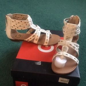 G by Guess White Studded Flat Sandals